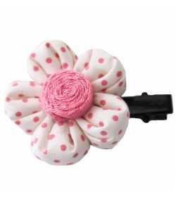 Barrette fleur écrue à pois roses