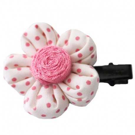 Achat/Vente offre spéciale beau look Barrette fleur écrue à pois roses