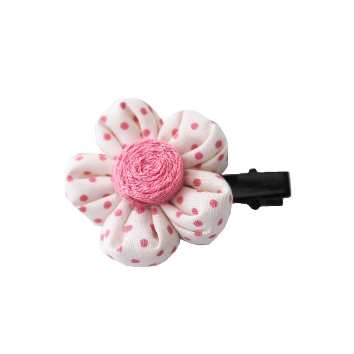 barrette fleur crue pois roses avec pince crocodile. Black Bedroom Furniture Sets. Home Design Ideas