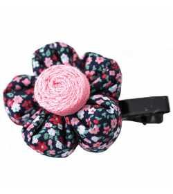 Barrette fleur liberty rose mauve et bleu