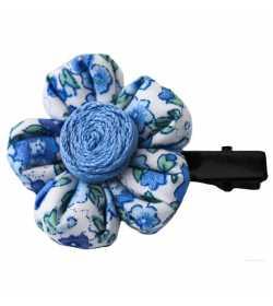 Barrette fleur liberty bleu
