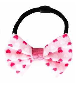 Chouchou noeud rose à petits coeurs