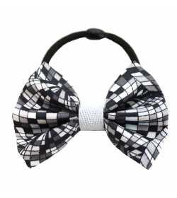 Chouchou noeud à carreaux noirs et gris