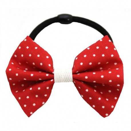 Chouchou noeud rouge à pois blancs