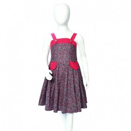 Robe fille Valentine liberty rose mauve bleu