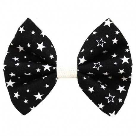 Barrette noeud noir à étoiles blanches