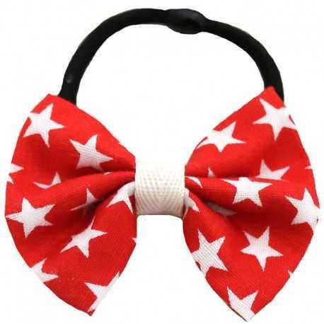 Chouchou noeud rouge à étoiles blanches