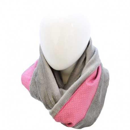 Echarpe grise et rose à pois blancs