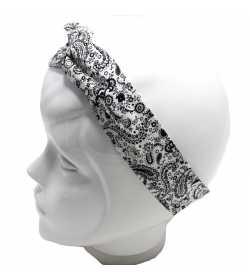 Bandana cheveux femme blanc et noir