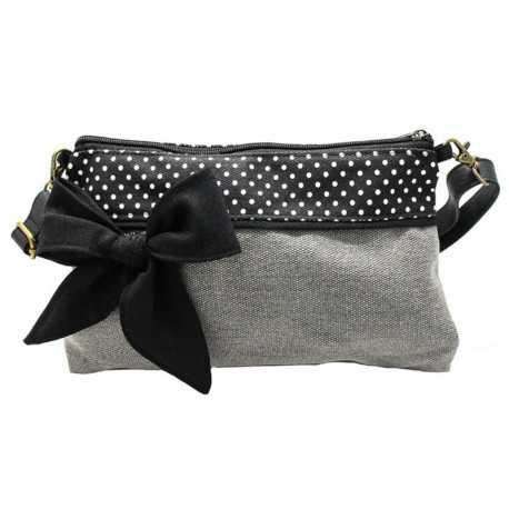 Mini sac bandoulière gris clair à pois