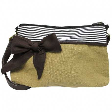 Mini sac bandoulière marron rayé