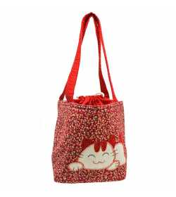 Sac fillette liberty rouge motif chat