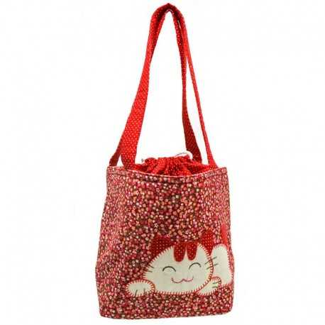 Sac liberty rouge motif chat