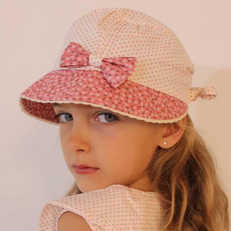b6d668f58cd12 Casquette rose liberty et pois pour fille