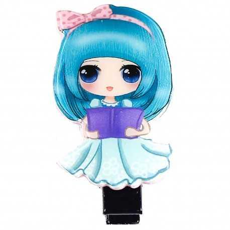 Barrette cheveux fille manga bleu clair