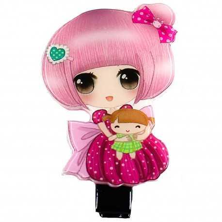 Barrette cheveux manga rose et framboise