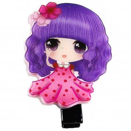 Barrette fille manga rose et violet