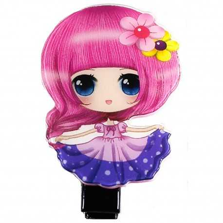 Barrette cheveux fille manga rose et mauve