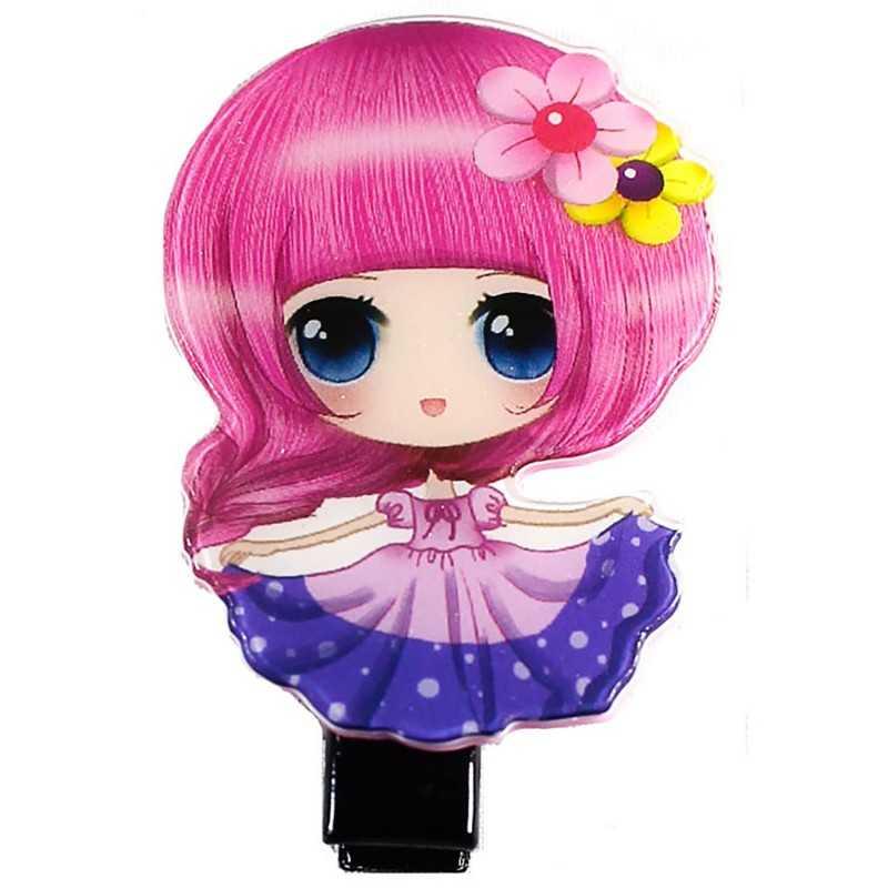 Barrette cheveux fille manga rose et mauve - Fille de manga ...