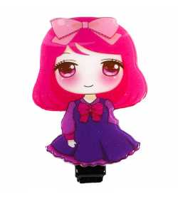 Barrette fille originale manga rose et violette