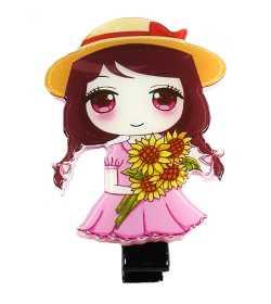 Barrette manga rose et jaune