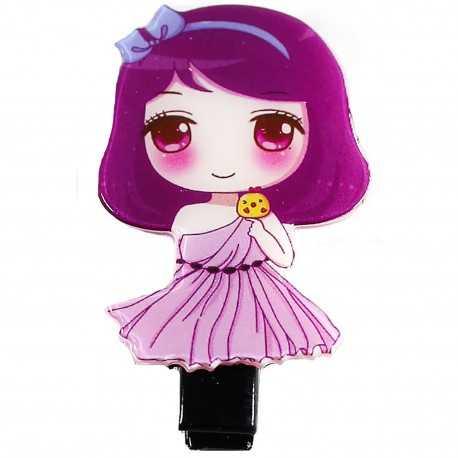 Barrette petite fille manga mauve et rose