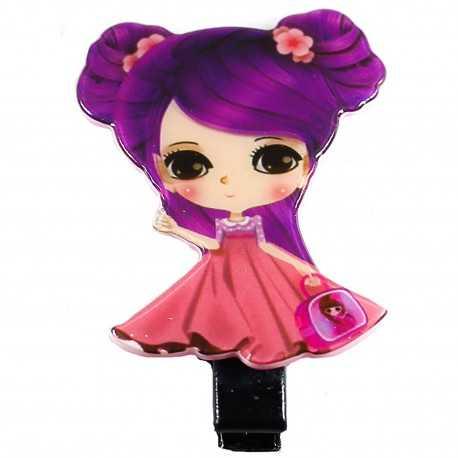 Barrette cheveux fantaisie manga rose et prune