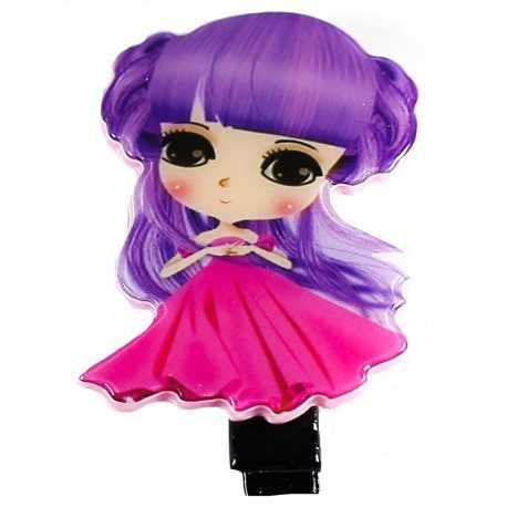 Barrette petite fille manga violet et rose