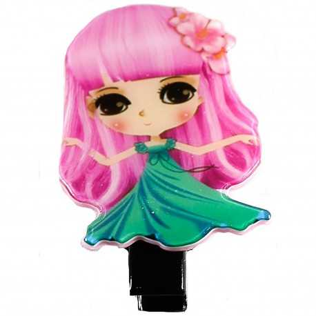 Barrette fille manga vert et rose