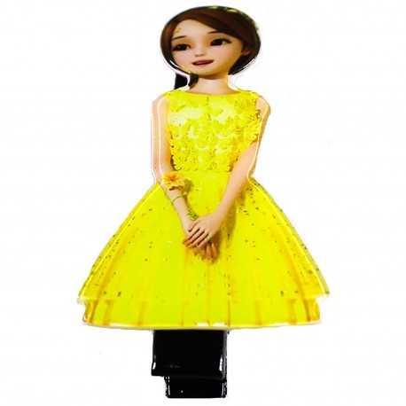 Barrette cheveux originale princesse jaune