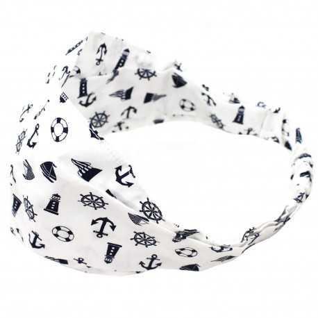 Bandeau élastique fille blanc motifs marins