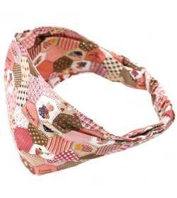 Bandeau élastique rose motif patchwork