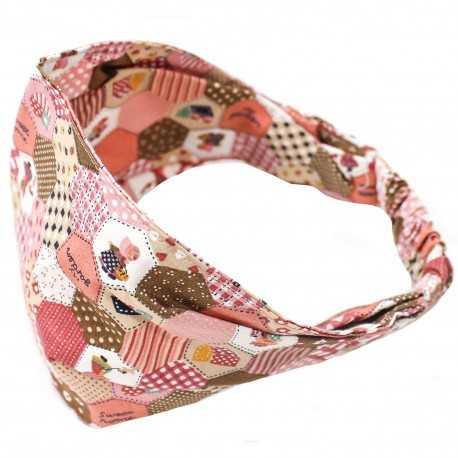 Bandeau élastique fille rose motif patchwork