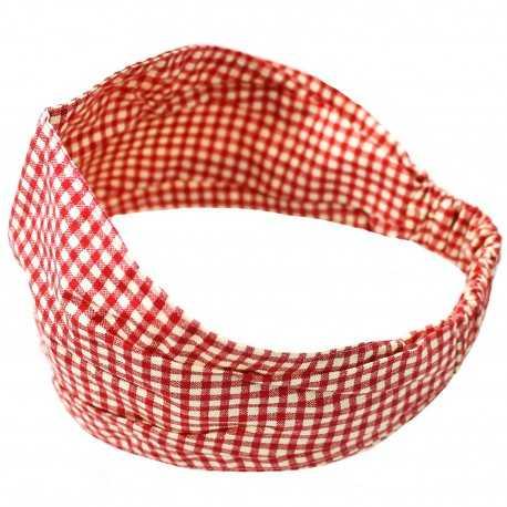 Bandeau élastique fille vichy rouge