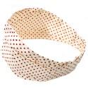 Bandeau élastique écru à pois rouges