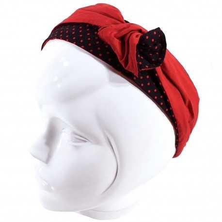 Bandeau articulé rouge et noir à pois