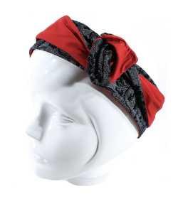Bandeau modulable rouge et noir motif arabesque