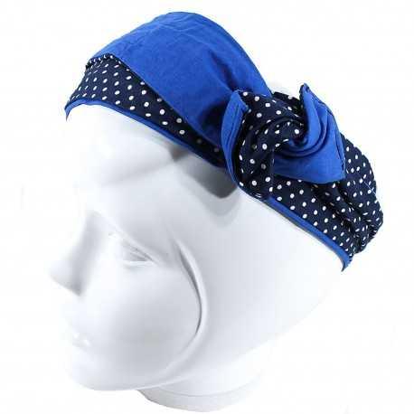 Bandeau rigide bleu à pois blancs