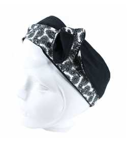 Bandeau articulé fleuri noir et blanc