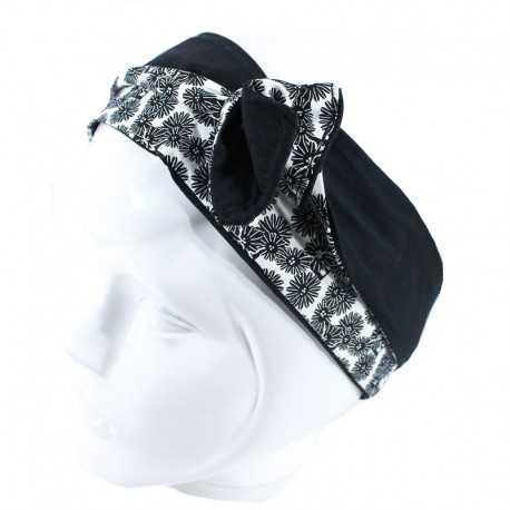 Bandeau rigide fleuri noir et blanc
