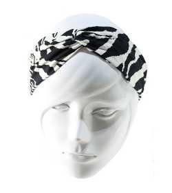 Bandeau twist zèbre noir et blanc