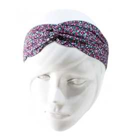 Bandeau twist liberty rose mauve bleu