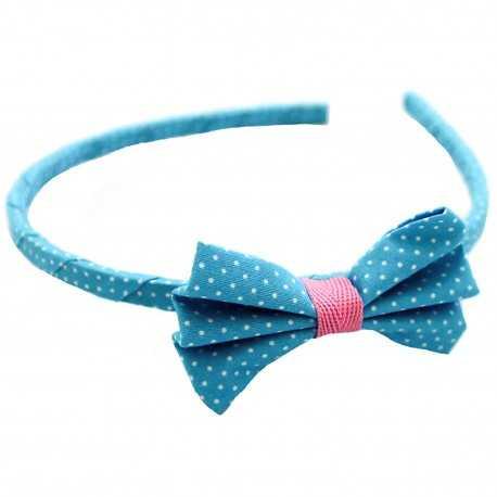 Serre-tête noeud bleu et rose