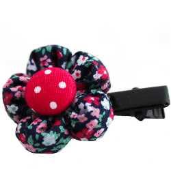 Barrette petite fleur liberty rose mauve bleu