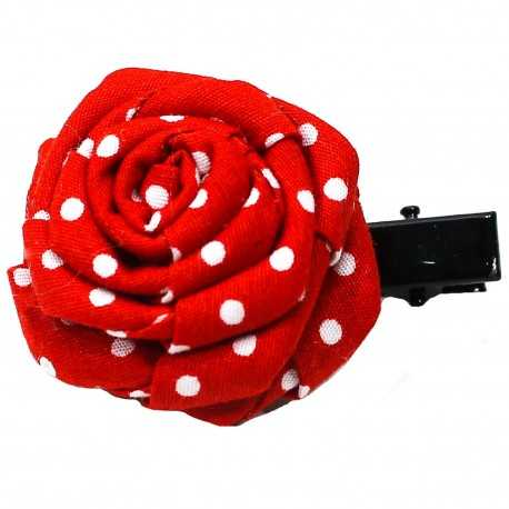 Barrette rose rouge à pois blancs