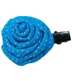 Barrette rose bleue à petits pois