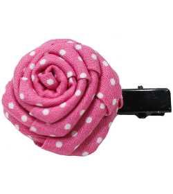 Barrette tissu rose à pois blancs
