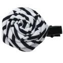 Barrette rose tissu noir et blanc