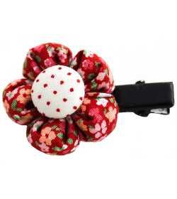Barrette petite fleur liberty rouge