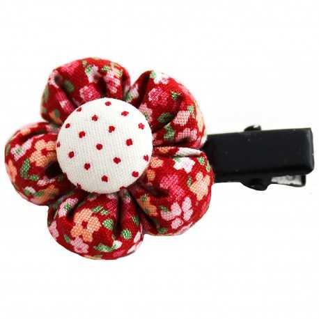 Barrette fillette petite fleur liberty rouge
